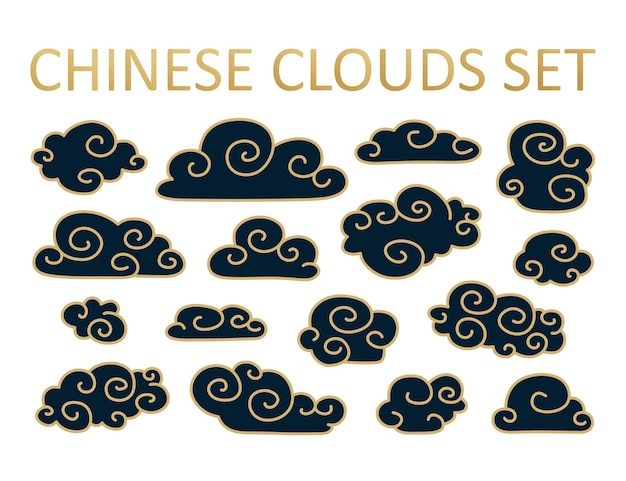 Asian cloud set in japanese style