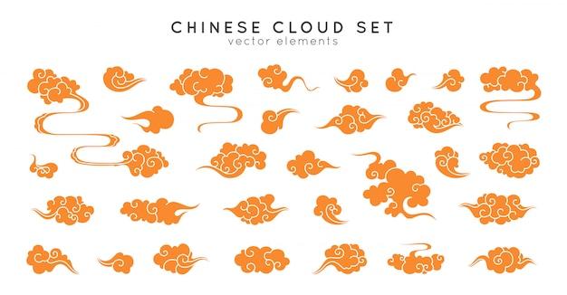 アジアのクラウドセット。中国、韓国、日本のオリエンタルスタイルの伝統的な曇り飾り。