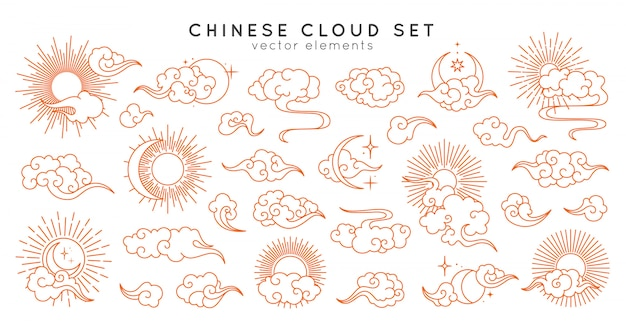 Asian cloud set with moon, sun and stars. vector collection in oriental chinese, japanese, korean style