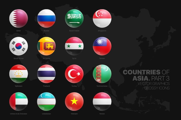 Asian countries flags glossy round icons set isolated on black background part