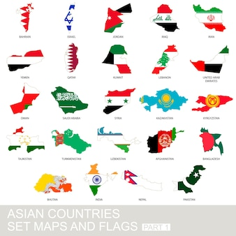 Asian countries set, maps and flags, part 1