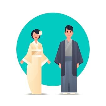 중국 또는 일본 남성 여성 만화 캐릭터 함께 서 국가 고대 의상에서 남자 여자 웃는 전통적인 여자 옷을 입고 아시아 부부