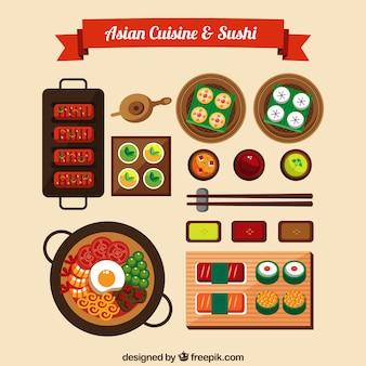 아시아 요리와 초밥 디자인
