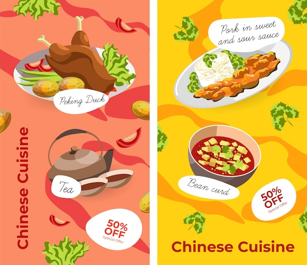 Asian cuisine, chinese food and dishes served on plates. pork in sweet and sour sauce, bean curd, peking duck, tea beverage. promotional banner or poster, cafe or restaurant menu. vector in flat