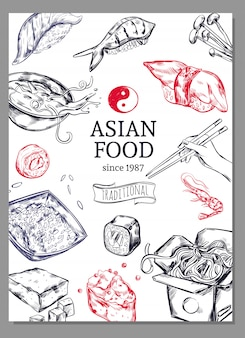 Asian cuisine sketch poster