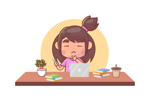 アジアのかわいい小さな子供は、eラーニングコースを勉強するためにコンピューターのラップトップでホームスクーリングをします。