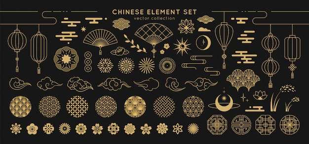 Asian design element set.