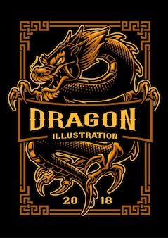 Asian dragon  illustration. shirt graphics. all elements, text colors are on the separate layer and editable.