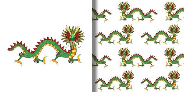 アジアンドラゴンプリントとテキスタイルとtシャツプリントのシームレスパターン