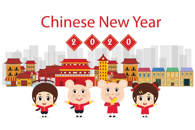 Asian family traditional costume. mean happy new year illustration