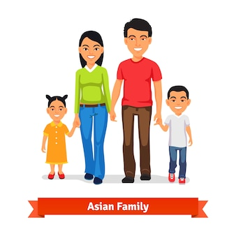 Asian family walking together and holding hands