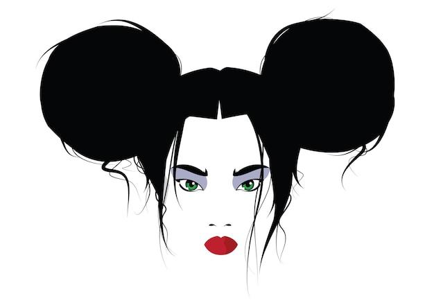 스타일 팝 아트에서 아시아 패션 여자입니다.