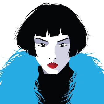 Asian fashion woman in style pop art.