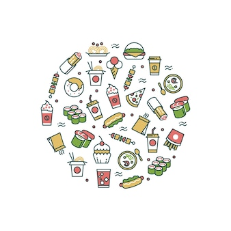 Asian fast food line icons in round form concept