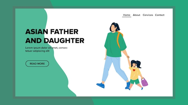 Asian father and daughter walking together vector. asian father and daughter walk outside and going to school. characters parent and child enjoying togetherness web flat cartoon illustration