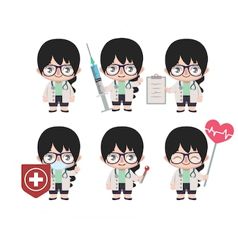 Asian female doctor mascot with various poses