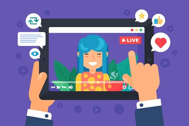 Азиатская женская веб-стример концепция иллюстрации