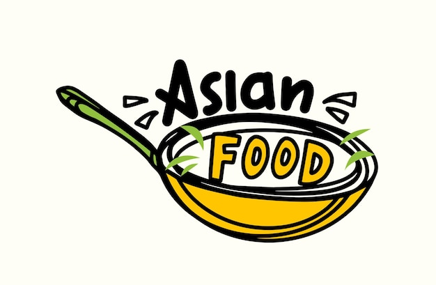Asian food banner with chinese wok cooking pan frying meal. concept with spicy ingredients on pan. emblem for china house or restaurant, cover menu design with typography. vector illustration