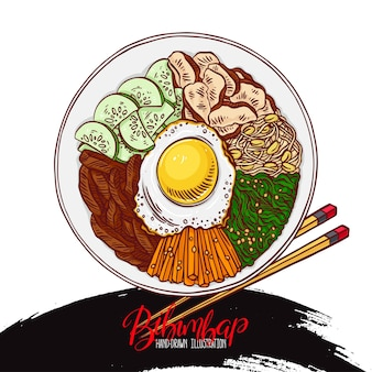 Asian food. bibimbap korean food. hand-drawn illustration