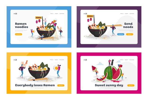 Asian food cafe, watermelon snack landing page template set