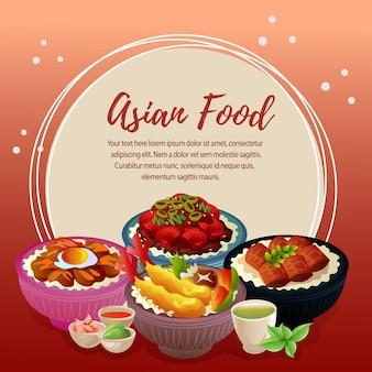 Asian food card with rice bowl set