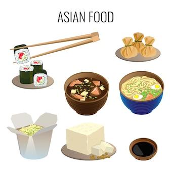 アジア料理。白地に伝統的なアジア料理のコレクション。東洋料理のウェブバナー。長い棒で寿司、ラーメンスープ、ポタージュの種類、カートンボックスでの食事のイラスト。
