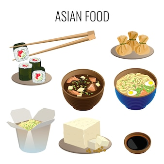 Asian food. collection of traditional national asian dishes on white. oriental cuisine web banner.  illustration of sushi with long sticks, ramen soup, kind of pottage, meal in carton box.