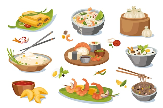 Asian food dishes design elements set. collection of spring rolls, shrimp noodles, rice with chopsticks, sushi, ramen, fortune cookies. vector illustration isolated objects in flat cartoon style