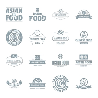 Asian food logo icons set