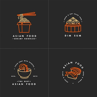 Asian food logo template set