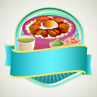 Asian food rice bowl badge with takoyaki