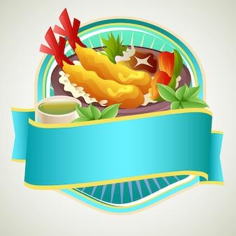 Asian food rice bowl badge with tempura