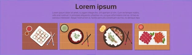 Asian food set sushi korean thai dishes top angle view template background horizontal banner