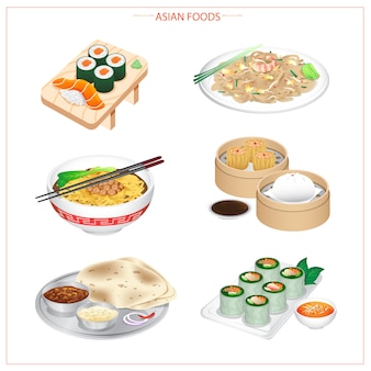 Asian food, variety of ingredients, vegetables, herbs and spices.