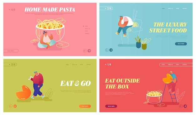 アジア料理のウェブサイトのランディングページセット。テイクアウトボックスで麺を食べている小さな男女のキャラクターとフォーチュンクッキーの予報を読んでください。東洋の食事のwebページのバナー。漫画フラット