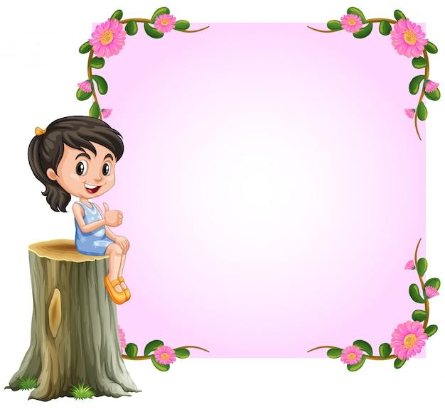 花のデザインとアジアの女の子とピンクの国境