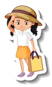 아시아 소녀 만화 캐릭터 스티커