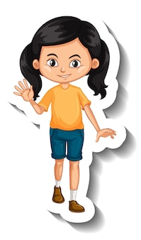 アジアの女の子の漫画のキャラクターのステッカー