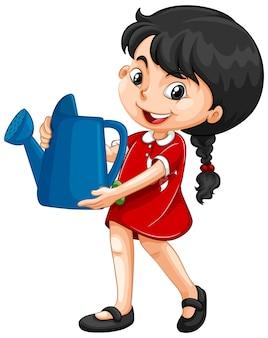 Азиатская девушка держит голубую лейку