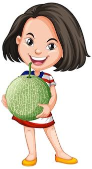 立った姿勢でメロン果実を保持しているアジアの女の子