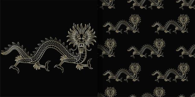 Принт азиатского золотого дракона и бесшовные модели для текстиля и принтов на футболках