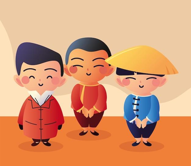 アジアのグループ男性