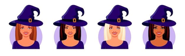 ハロウィーンの魔女の衣装を着ているアジアのインドとヨーロッパの女の子笑顔のアバターの顔のセット