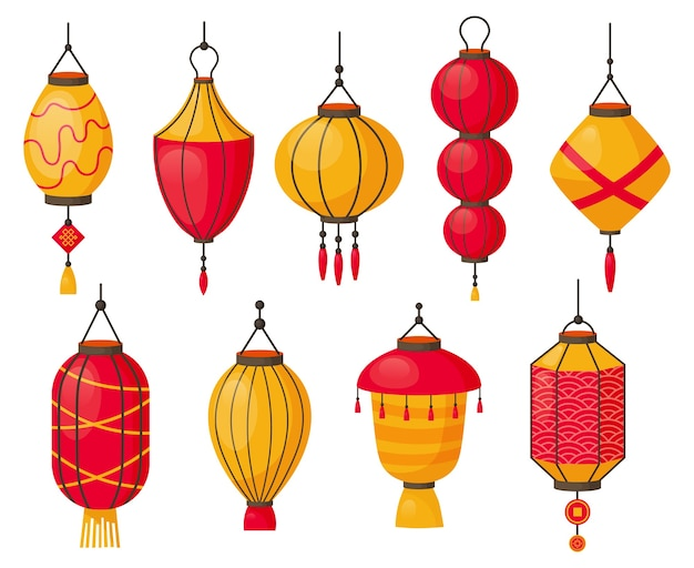 Азиатские фонарики, изолированные на белом фоне