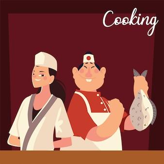 아시아 남성과 여성 요리사 작업자 전문 레스토랑 벡터 일러스트 레이션