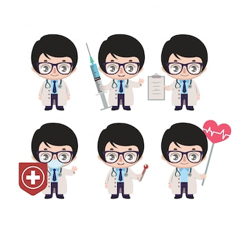 Asian male doctor mascot with various poses