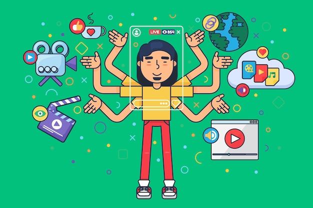 Азиатский мужской видеоблогер плоская иллюстрация концепции