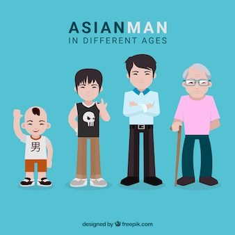 Asian man in different ages