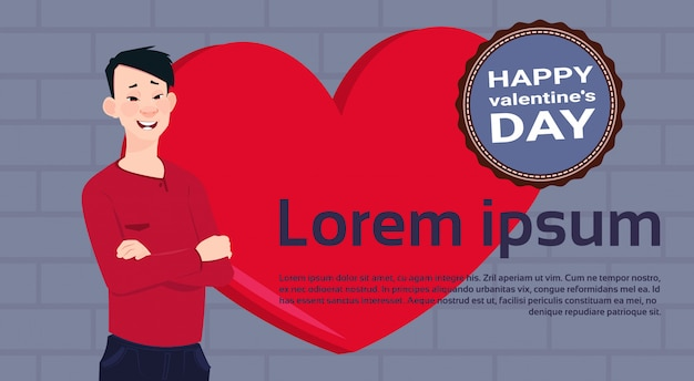 Asian man over red heart template background with happy valentines day label