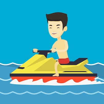 Азиатская тренировка человека на гидроцикле в море.